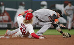 San Francisco Giants' Brandon Crawford, right,stretches to keep his foot on second as he forces out St. Louis Cardinals' Harrison Bader (48) in the sixth inning of a baseball game, Friday, July 16, 2021, in St. Louis. (AP Photo/Tom Gannam)