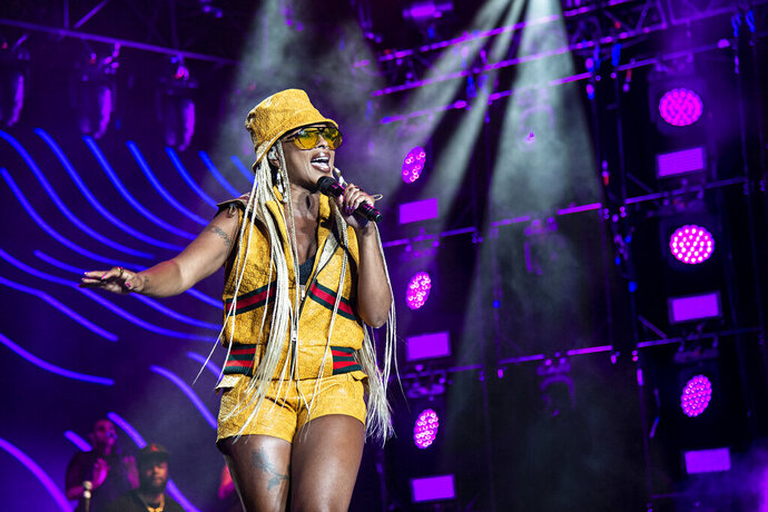 FILE - In this July 7, 2018 file photo, Mary J. Blige performs at the 2018 Essence Festival at the Mercedes-Benz Superdome in New Orleans. Blige will take part in the Essence Festival, marking 25 years of celebrating black excellence in business, fashion, entertainment and music. (Photo by Amy Harris/Invision/AP, File)