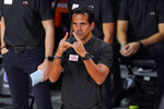 Miami Heat head coach Erik Spoelstra directs his team during the first half in Game 6 of basketball's NBA Finals against the Los Angeles Lakers Sunday, Oct. 11, 2020, in Lake Buena Vista, Fla. (AP Photo/Mark J. Terrill)