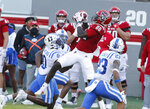 North Carolina State wide receiver Emeka Emezie (86) pulls in the reception as Duke safety Marquis Waters (0) defends during the first half of an NCAA college football game at Carter-Finley Stadium in Raleigh, N.C., Saturday, Oct. 17, 2020. (Ethan Hyman/The News & Observer via AP)