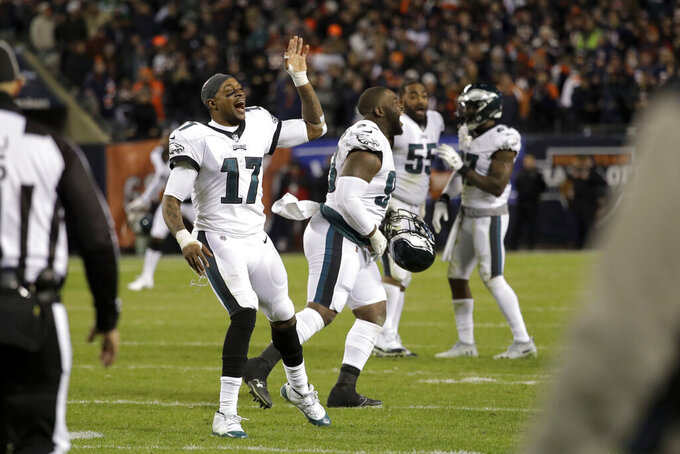 Philadelphia Eagles wide receiver Alshon Jeffery (17) and teammates celebrate after Chicago Bears kicker Cody Parkey misses a field goal during the second half of an NFL wild-card playoff football game Sunday, Jan. 6, 2019, in Chicago. The Eagles won 16-15. (AP Photo/Nam Y. Huh)