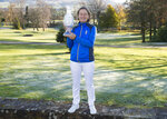 Catriona Matthew holds the Solheim Cup, after being named as captain for the 2021 European Solheim Cup at The Gleneagles Hotel in Auchterarder, Scotland, Thursday Nov. 14, 2019. (Ian Rutherford/PA via AP)