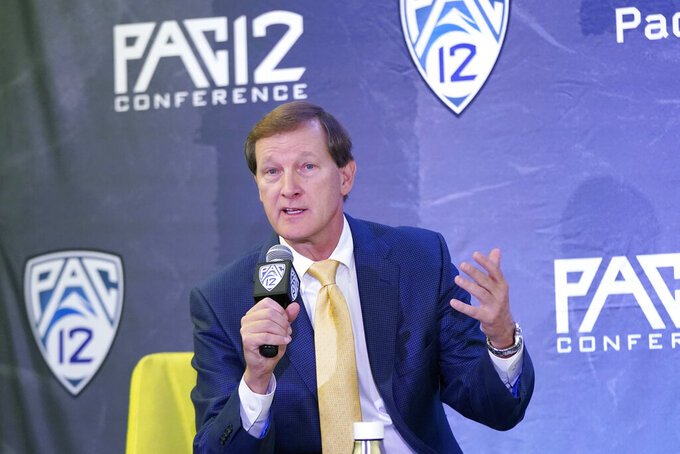 Oregon head coach Dana Altman speaks during Pac-12 Conference NCAA college basketball media day Wednesday, Oct. 13, 2021, in San Francisco. (AP Photo/Jeff Chiu)