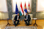 Serbian President Aleksandar Vucic, right, speaks with Hungarian Prime Minister Viktor Orban during a meeting in Belgrade, Serbia, Friday, May 15, 2020. Orban is on a one-day official visit to Serbia. (AP Photo/Darko Vojinovic)