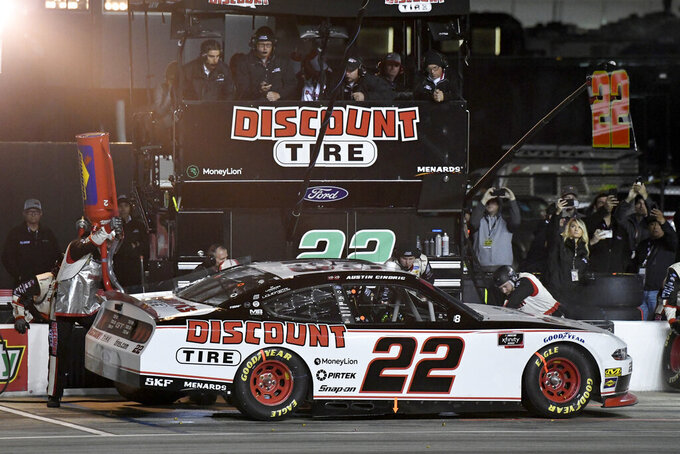 Austin Cindric makes a pit stop during the NASCAR Xfinity Series auto race at Texas Motor Speedway in Fort Worth, Texas, Saturday, Nov. 2, 2019. (AP Photo/Larry Papke)