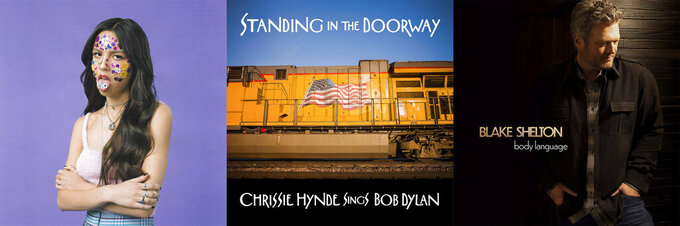"""This combination of photos shows cover art for """"Sour"""" by Olivia Rodrigo, from left, """"Standing in the Doorway"""" by Chrissie Hynde and """"Body Language"""" by Blake Shelton. (Geffen Records/BMG/Warner Music Nashville via AP)"""