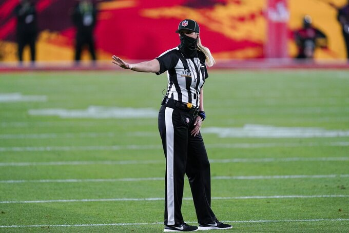 Line judge Sarah Thomas (53) works during the first half of the NFL Super Bowl 55 football game between the Kansas City Chiefs and the Tampa Bay Buccaneers, Sunday, Feb. 7, 2021, in Tampa, Fla. (AP Photo/Mark Humphrey)