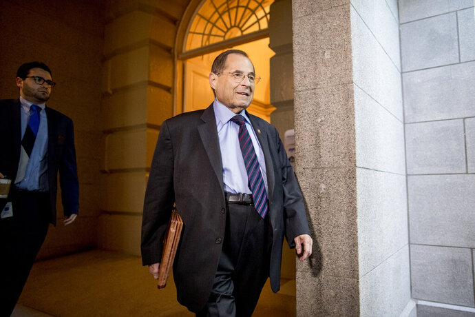 Judiciary Committee Chairman Jerrold Nadler, D-N.Y., arrives for a House Democratic caucus meeting on Capitol Hill in Washington, Wednesday, July 10, 2019. (AP Photo/Andrew Harnik)