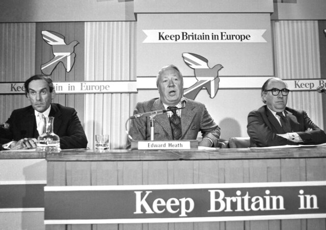 FILE - In this May 13, 1975 file photo, Edward Heath, former leader of the Conservative Party, center, with Jeremy Thorpe, leader of the Liberal Party, left, and Roy Jenkins, the Labour Party's Home Secretary at the first Britain in Europe press conference at the Waldorf Hotel in London. The referendum on Britain's membership of what was then called the European Economic Community saw a convincing majority in favor of remaining in the bloc. Following a different outcome in the referendum of June 2016, Britain is to leave what became the European Union on Jan. 31 after 47 years of membership. (AP Photo/File)