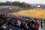 FILE - In this April 4, 2019, file photo, fans watch the Chattanooga Lookouts play the Montgomery Biscuits at AT&T Field in Chattanooga, Tenn. Major League Baseball is pushing a proposal to whack 42 teams _ and several entire leagues _ from its vast network of minor-league affiliates that bring the game to every corner of country. That includes Chattanooga, Tennessee, home of the Double-A Lookouts and a city where professional baseball was first played in 1885. (C.B. Schmelter/Chattanooga Times Free Press via AP, File)
