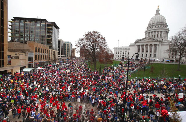 FILE - In this Nov. 19, 2011, file photo, protesters gather for the