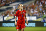 FILE - In this Aug. 29, 2019, file photo, United States' Becky Sauerbrunn is shown during an international friendly soccer match against Portugal in Philadelphia. Reporters from The Associated Press spoke to more than two dozen athletes from around the globe -- representing seven countries and 11 sports -- to get a sense of how concerned or confident they are about resuming competition. What emerged, above all, was a sense that they are going through the very same sort of calculus that much of the rest of society is: What is safe nowadays? How do I, and my family, stay healthy? (AP Photo/Matt Slocum, File)