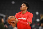 Washington Wizards forward Rui Hachimura warms up for the team's NBA basketball game against the Philadelphia 76ers, Thursday, Dec. 5, 2019, in Washington. (AP Photo/Nick Wass)