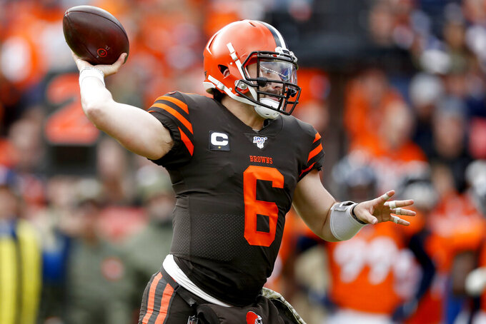 Cleveland Browns quarterback Baker Mayfield (6) throws against the Denver Broncos during the first half of NFL football game, Sunday, Nov. 3, 2019, in Denver. (AP Photo/David Zalubowski)