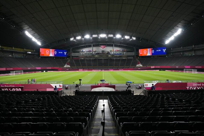 A general view of Sapporo Dome before a women's soccer match between Chile and Canada at the 2020 Summer Olympics, Saturday, July 24, 2021, in Sapporo, Japan. (AP Photo/Silvia Izquierdo)