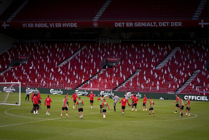 Belgium players take part in a training session ahead of the UEFA Nations League soccer match against Sweden on Saturday, at Parken Stadium, in Copenhagen, Denmark, Friday Sep. 4, 2020. (Liselotte Sabroe/Ritzau Scanpix via AP)