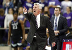 Kansas State head coach Bruce Weber instructs his team in the second half of an NCAA college basketball game against TCU in Fort Worth, Texas, Monday, March 4, 2019. (AP Photo/Tony Gutierrez)
