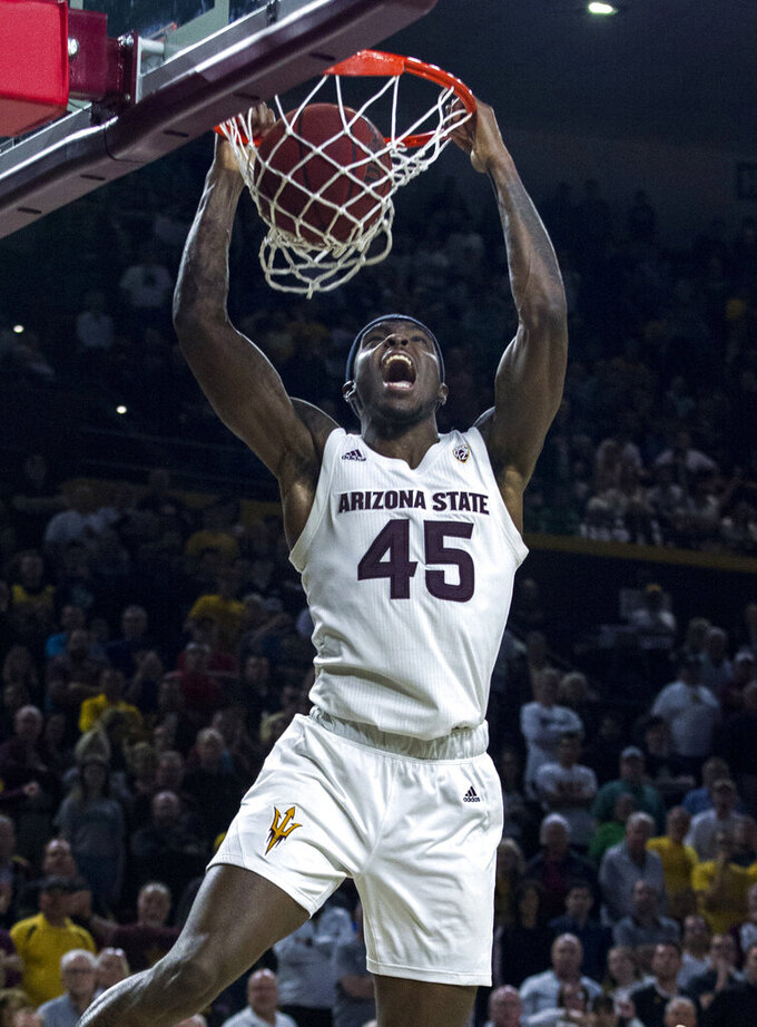 Arizona State's Zylan Cheatham dunks against Oregon during the second half of an NCAA college basketball game Saturday, Jan. 19, 2019, in Tempe, Ariz. Arizona State won 78-64. (AP Photo/Darryl Webb)
