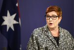 Australia's Minister for Foreign Affairs Marise Payne speaks in Sydney, Australia, April 27, 2021. Payne and Defense Minister Peter Dutton are traveling to Jakarta, India, South Korea and the United States to bolster economic and security relationships within the Asia-Pacific region where tensions are rising with China. (AP Photo/Rick Rycroft)