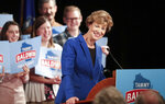 FILE - In this Tuesday Nov. 6, 2018 file photo, U.S. Sen. Tammy Baldwin, D-Wis., celebrates her victory in Madison, Wis. Baldwin _ who in 2012 became the first openly gay person to win a U.S. Senate seat _ easily won re-election despite being targeted by outside conservative groups that spent millions attacking her. (Steve Apps/Wisconsin State Journal via AP)