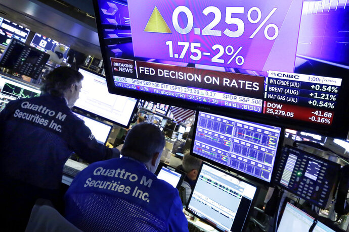 FILE- In this June 13, 2018, file photo a television screen on the floor of the New York Stock Exchange shows the rate decision of the Federal Reserve. Even bonds, the buttoned-down and conservative part of any portfolio, carry their own risks. And some of the most popular types of bond funds can be particularly susceptible to them. Investors are getting a reminder of these risks after the Federal Reserve lifted its benchmark interest rate by another quarter of a percentage point this week. (AP Photo/Richard Drew, File)