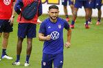Cristian Roldan of the U.S. Men's National Team runs during soccer practice Tuesday, Aug. 31, 2021, in Nashville, Tenn. (AP Photo/Mark Humphrey)