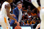 Tennessee Tech head coach Steve Payne yells to his players as Tennessee brings the ball down court in the first half of an NCAA college basketball game Saturday, Dec. 29, 2018, in Knoxville, Tenn. (AP Photo/Shawn Millsaps)