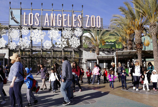FILE - In this Jan. 21, 2016, file photo, school children arrive at the Los Angeles Zoo, in Los Angeles. The zoo, along with much of California, is shutting down, with theme parks, horse-racing tracks and concert halls locking their doors while some people postpone their weddings as the nation's largest state attempts to dodge the new coronavirus. (AP Photo/Nick Ut,File)