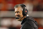 Utah head coach Kyle Whittingham looks on in the second half of an NCAA college football game against Washington State Saturday, Sept. 28, 2019, in Salt Lake City. (AP Photo/Rick Bowmer)