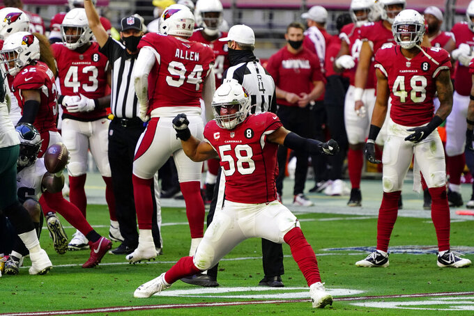 Arizona Cardinals middle linebacker Jordan Hicks (58) celebrates a defensive stop against the Philadelphia Eagles during the first half of an NFL football game, Sunday, Dec. 20, 2020, in Glendale, Ariz. (AP Photo/Rick Scuteri)