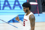 Rutgers' Myles Johnson (15) reacts during the second half of an NCAA college basketball game against Indiana at the Big Ten Conference tournament, Thursday, March 11, 2021, in Indianapolis. Rutgers won 61-50. (AP Photo/Darron Cummings)