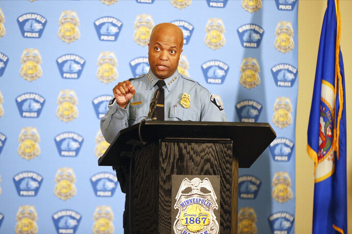 Minneapolis Police Chief Medaria Arradondo addresses the media, Wednesday, June 10, 2020 in Minneapolis. The press conference follows the Memorial Day death of George Floyd in police custody after video shared online by a bystander showed former officer Derek Chauvin kneeling on Floyd's neck during his arrest as he pleaded that he couldn't breathe. (AP Photo/Jim Mone)