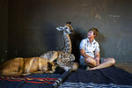 Hunter, a young Belgian Malinois, keeps an eye on Jazz, a nine-day-old giraffe, as orphanage worker Janie Van Heerden looks on at the Rhino orphanage in the Limpopo province of South Africa Friday Nov. 22 2019. Jazz who was brought in after being abandoned by her mother at birth, is being taken care of and fed at the orphanage some three hours North of Johannesburg by Janie Van Heerden, seen right, and has been befriended by Hunter and its sibling Duke. (AP Photo/Jerome Delay)