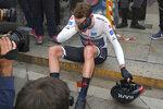 Britain's Tao Geoghegan Hart reacts after winning the Giro d'Italia cycling race, in Milan, Italy, Sunday, Oct. 25, 2020. (Gian Mattia D'Alberto/LaPresse via AP)