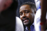 Tulsa coach Frank Haith talks with his team during a timeout in the second half of an NCAA college basketball game against Connecticut in Tulsa, Okla., Thursday, Feb. 6, 2020. (AP Photo/Sue Ogrocki)