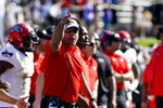 UNLV head coach Troy Sanchez works from the sideline during the first half of an NCAA college football game against Northwestern, Saturday, Sept. 14, 2019, in Evanston, Ill. (AP Photo/Matt Marton)