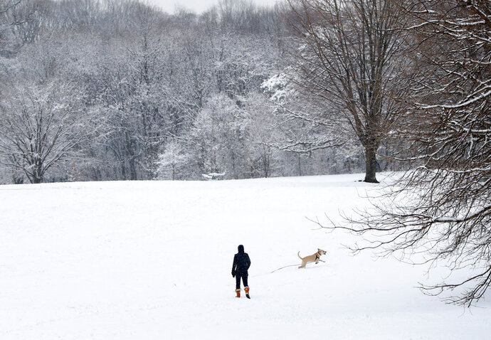 FILE - In this April 2, 2018, file photo, a woman watches as her dog runs in a snowfall that blanketed Prospect Park in the Brooklyn borough of New York. The Post-Standard reported the Depew Police Department wrote Friday, April 6, in a humorous Facebook post that it had arrested the season. Police said any more snow winter produces would be held against it in court. (AP Photo/Kathy Willens, File)
