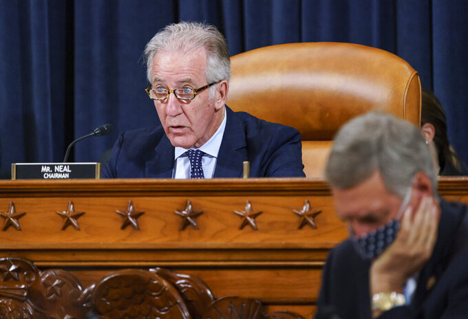 FILE - In this Sept. 9, 2021, file photo House Ways and Means Committee Chairman Richard Neal, D-Mass., presides over a markup hearing to craft the Democrats' Build Back Better Act, massive legislation that is a cornerstone of President Joe Biden's domestic agenda, at the Capitol in Washington. The high cost of the bill, to help families and combat climate change, would be financed in part by increasing taxes on the wealthy and corporations. (AP Photo/J. Scott Applewhite, File)