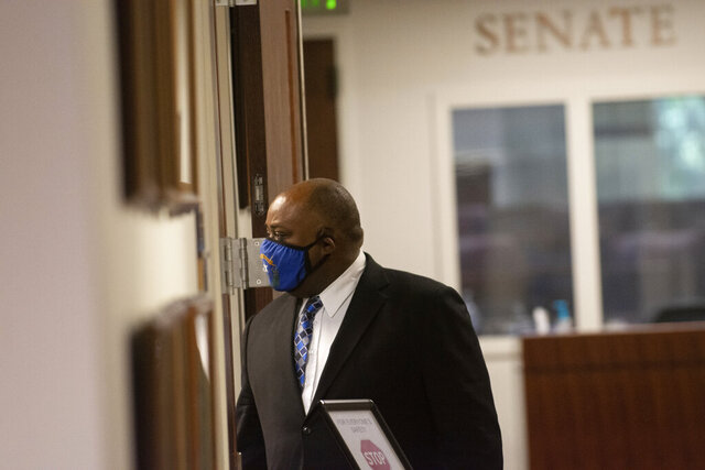 Assembly Speaker Jason Frierson on Wednesday, Aug. 5, 2020, during the sixth day of the 32nd Special Session of the Legislature in Carson City, Nev. (David Calvert/Nevada Independent via AP, Pool)