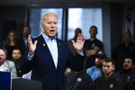 Democratic presidential candidate former Vice President Joe Biden speaks during a campaign event with the International Association of Bridge, Structural, and Ornamental Iron Workers, Sunday, Jan. 26, 2020, in Des Moines, Iowa. (AP Photo/Matt Rourke)