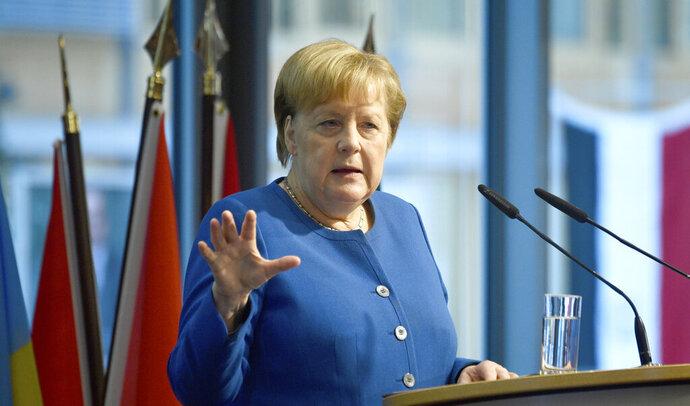 German chancellor Angela Merkel speaks at the