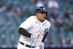 Detroit Tigers' Miguel Cabrera runs to first on a single during the third inning of a baseball game against the Kansas City Royals, Wednesday, May 12, 2021, in Detroit. The single was Cabrera's 2877th in career hits. (AP Photo/Carlos Osorio)