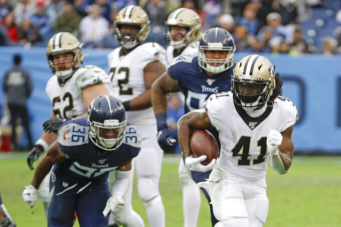 New Orleans Saints running back Alvin Kamara (41) runs 40 years for a touchdown against the Tennessee Titans in the second half of an NFL football game Sunday, Dec. 22, 2019, in Nashville, Tenn. (AP Photo/James Kenney)