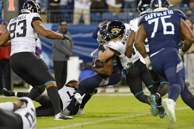 Tennessee Titans running back Derrick Henry, center, pushes against Jacksonville Jaguars safety Andrew Wingard (42) as Henry scores a touchdown in the second half of an NFL football game Sunday, Nov. 24, 2019, in Nashville, Tenn. (AP Photo/Mark Zaleski)