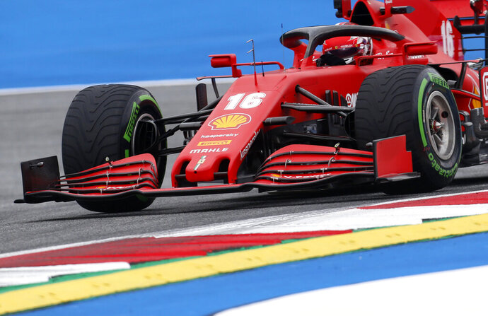 Ferrari driver Charles Leclerc of Monaco steers his car during the first practice session at the Red Bull Ring racetrack in Spielberg, Austria, Friday, July 3, 2020. The Austrian Formula One Grand Prix will be held on Sunday. (AP Photo/Darko Bandic)