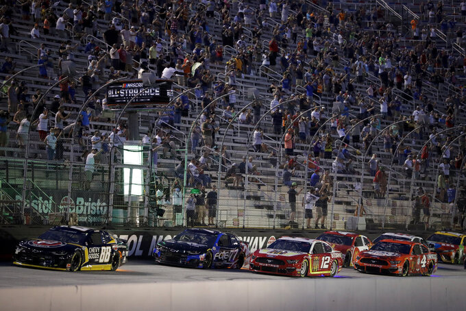Cars run during a NASCAR All-Star auto race at Bristol Motor Speedway in Bristol, Tenn, Wednesday, July 15, 2020. (AP Photo/Mark Humphrey)