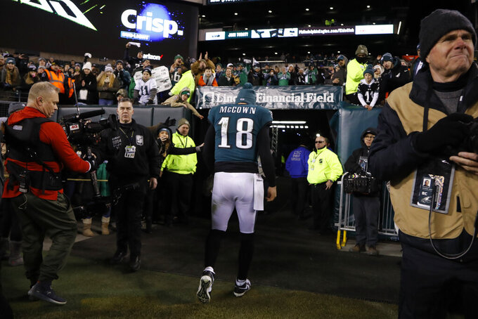 Philadelphia Eagles' Josh McCown walks off the field after an NFL wild-card playoff football game against the Seattle Seahawks, Sunday, Jan. 5, 2020, in Philadelphia. Seattle won 17-9. (AP Photo/Julio Cortez)