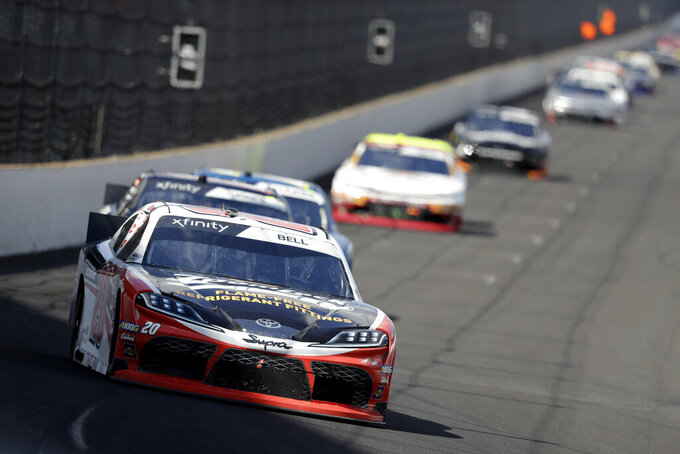 NASCAR Xfinity Series driver Christopher Bell drives into turn one during the NASCAR Xfinity auto race at the Indianapolis Motor Speedway, Saturday, Sept. 7, 2019 in Indianapolis. (AP Photo/Darron Cummings)