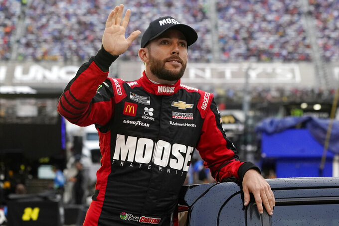 Ross Chastain waves to fans before a NASCAR Cup Series auto race at Bristol Motor Speedway Saturday, Sept. 18, 2021, in Bristol, Tenn. (AP Photo/Mark Humphrey)
