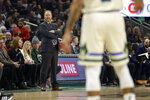 Milwaukee Bucks head coach Mike Budenholzer watches from the sideline during the first half of an NBA basketball game against the Chicago Bulls Monday, Jan. 20, 2020, in Milwaukee. (AP Photo/Aaron Gash)